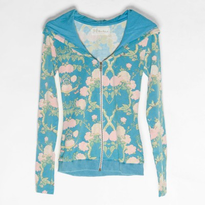 Fitted Bamboo Hoodie Bluefloral - Fashionalia
