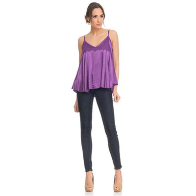 Satin Flight Top Purple - Fashionalia