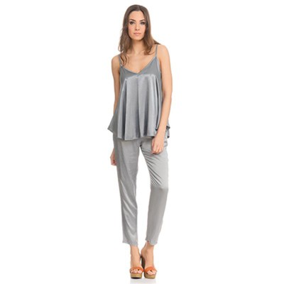 Satin Flight Top Silver - Fashionalia