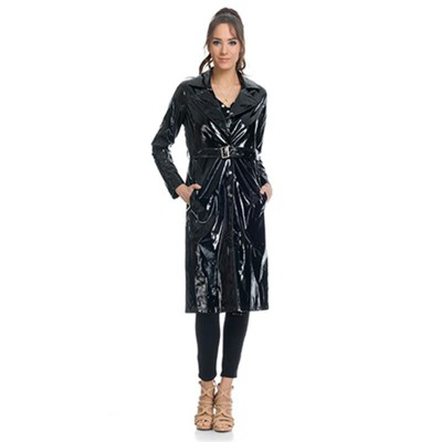 Patent leather Raincoat with Pockets and Belt Blac
