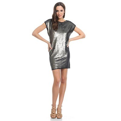 Sequins Straight dress with Back Strips Brow
