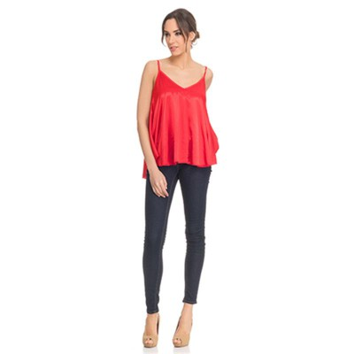 Satin Flight Top Red - Fashionalia