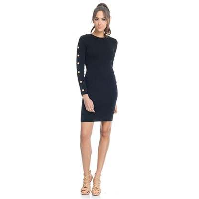 Knitted dress with Golden Buttons in the sleeves Blac