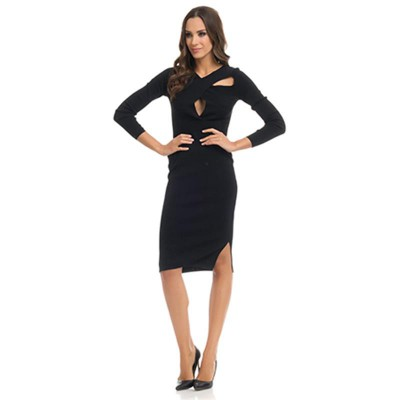 Knitted Shape dress with Cross Neck Black