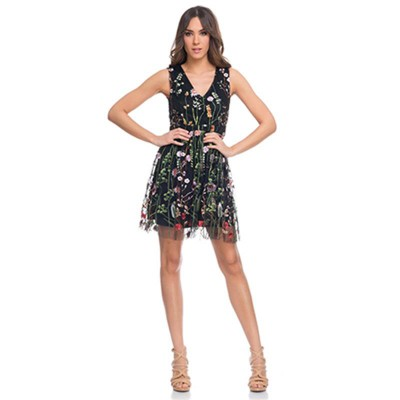 Net dress with embroidery flowers and V Neck Black