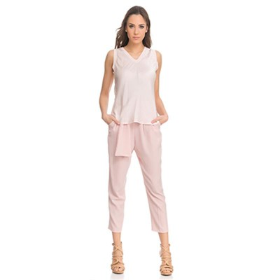 Silk top with Elastic V neck Pink - Fashionalia