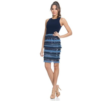 Dress with sequins and fringes Navy