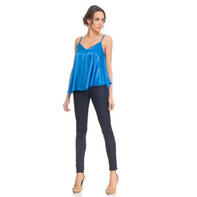 Satin Flight Top Blue - Fashionalia