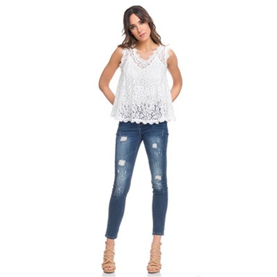 Wide Lace Top with V Neck. Lining not include White - Fashionalia
