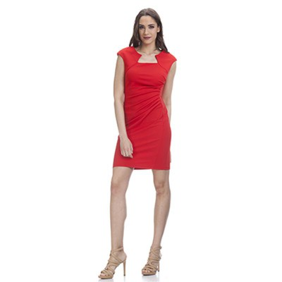 Shape dress with Asymetric Neck Red