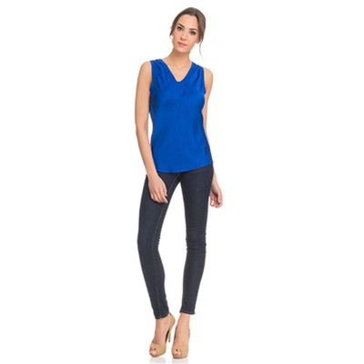 Silk top with Elastic V neck Blue - Fashionalia