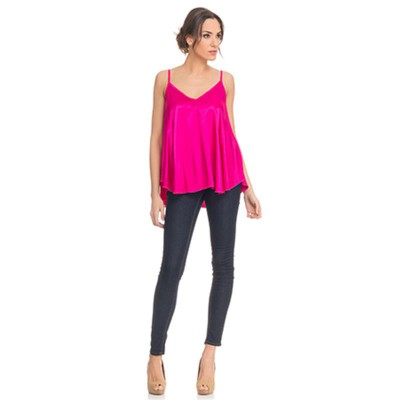 Satin Flight Top Fucshia - Fashionalia