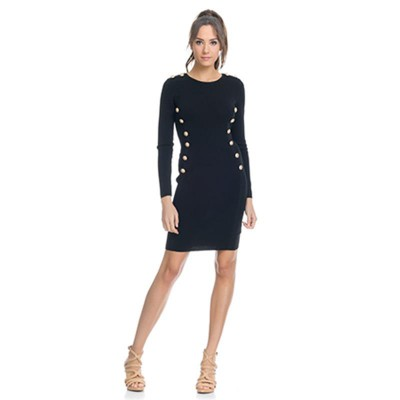 Knitted Dress with Front golden Buttons Blac