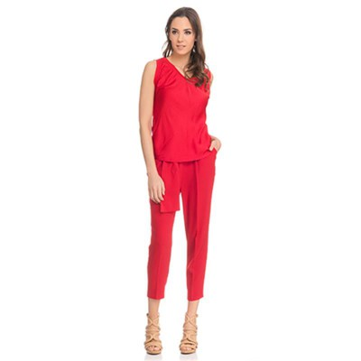 Silk top with Elastic V neck Red - Fashionalia