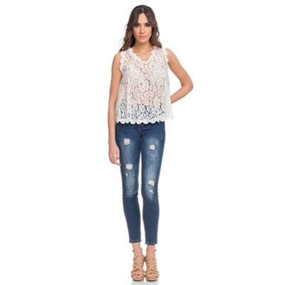 Wide Lace Top with V Neck. Lining not include Beige - Fashionalia