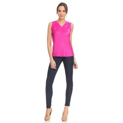 Silk top with Elastic V neck Fucshia - Fashionalia