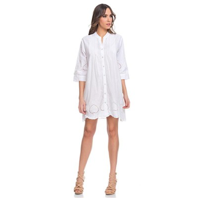 Shirt dress with 3/4 sleeves and Vainica detail Whit - Fashionalia