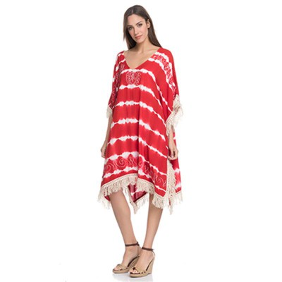 Shaded kurta with Fringes Red - Fashionalia