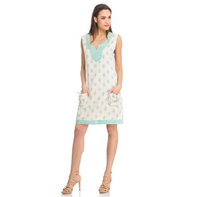 Print dress with pockets Turquoise - Fashionalia