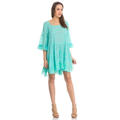 3/4 sleeves Batista Dress Green - Fashionalia