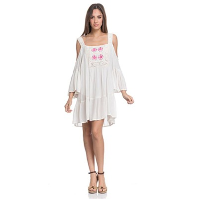 Off the Shoulder pint dress with chest embroidery Beige - Fashionalia
