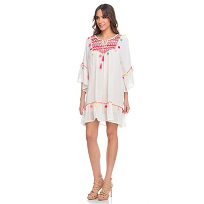 Wide embroidery Dress with Ponpons and 3/4 Sleeves Whit - Fashionalia