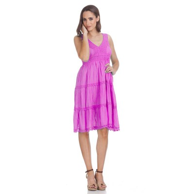V-Neck batista dress Fucshi - Fashionalia