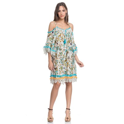 Off the shoulder print dress with Pomponss Turquoise - Fashionalia