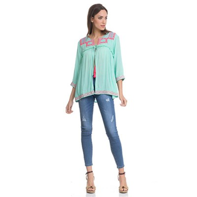 Open Blouse with embroidery in the chest, sleeves and low part and fringes Green - Fashionalia