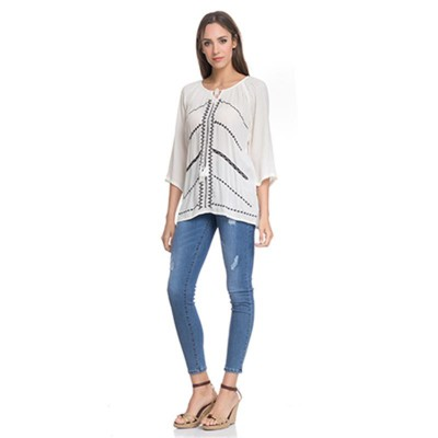 Blouse with front embroidery and 3/4 sleeves Beige - Fashionalia