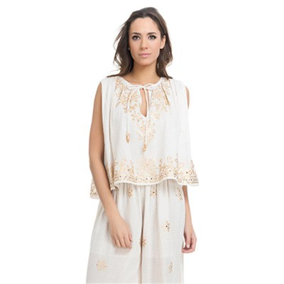 Embroidery Top with Golden details Ecr - Fashionalia