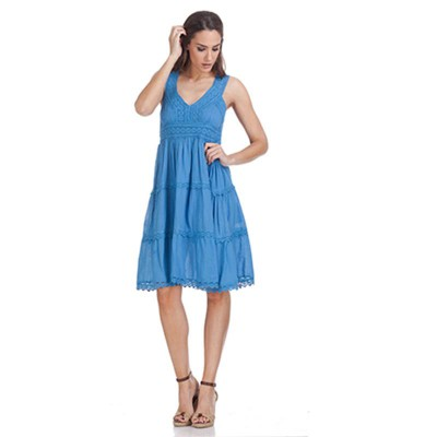 V-Neck batista dress Blu - Fashionalia