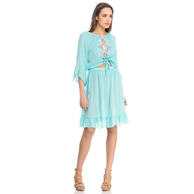 Front Embroidery dress with Open detail Green - Fashionalia