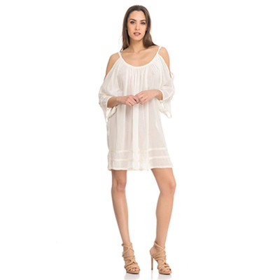 Off the Shoulder dress with Vainica detail Beige - Fashionalia