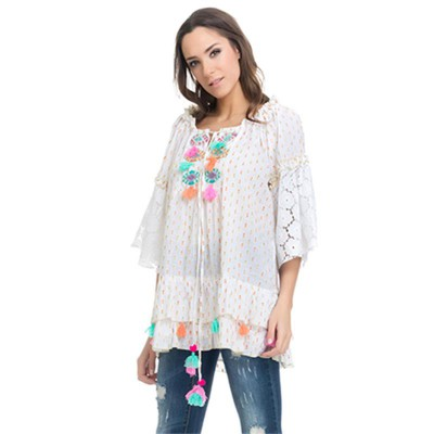 Embroidery top with lace and fringes Whit - Fashionalia