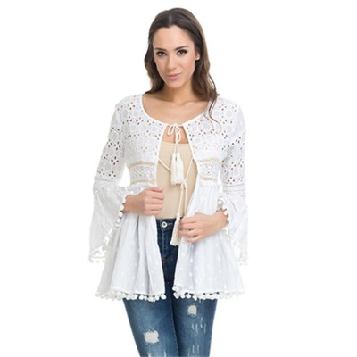 Batista Top with embroidery details Whit - Fashionalia