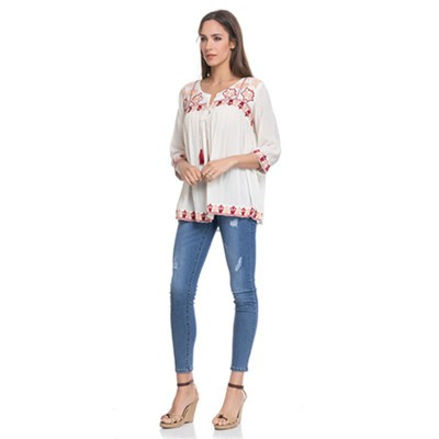 Open Blouse with embroidery in the chest, sleeves and low part Beige - Fashionalia