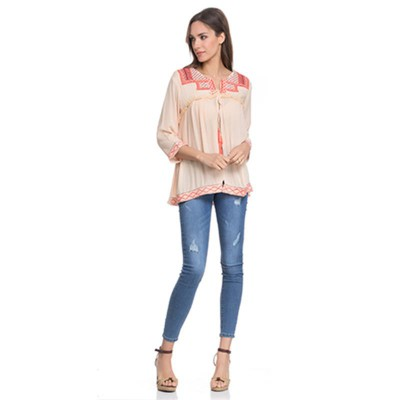 Open Blouse with embroidery in the chest, sleeves and low part and fringes Beige - Fashionalia