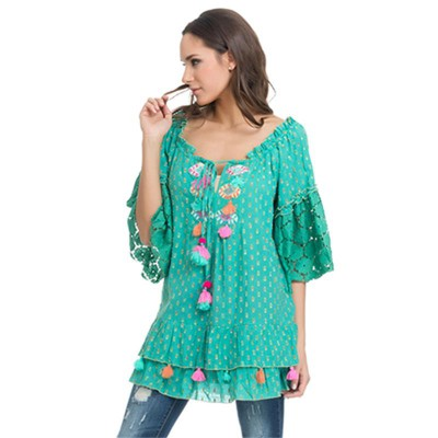 Embroidery top with lace and fringes Gree - Fashionalia