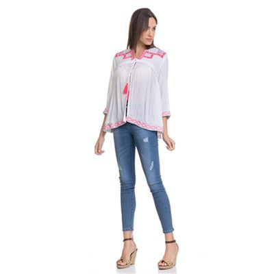 Open Blouse with embroidery in the chest, sleeves and low part and fringes White - Fashionalia