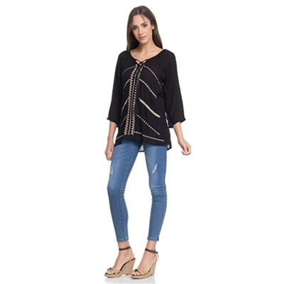 Blouse with front embroidery and 3/4 sleeves Blue - Fashionalia