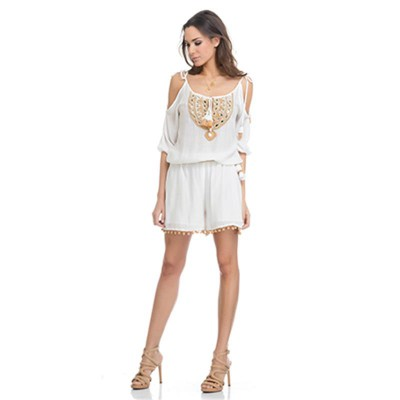 Short Jumpsuit with Embroidery and mirrors. Embroidery belt Include Ecr - Fashionalia