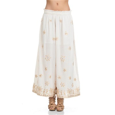Elastic Pants with embroidery and Golden details Ecr - Fashionalia