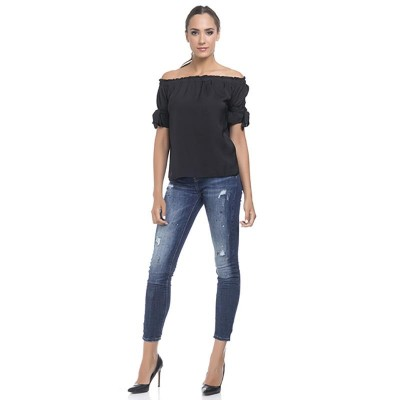 Boat elastic Neck top Black