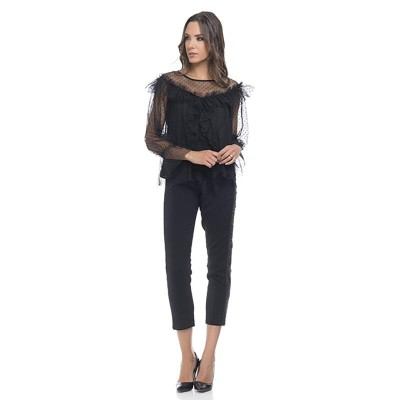 Satin pants with small side chain details Black