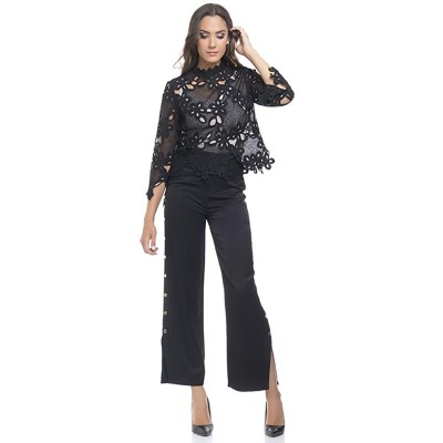 Satin Pants with gold side buttons details and lower opening Black