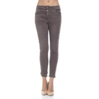 Jeans with side ribbon strip and back star Brown