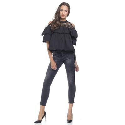 Jeans with Gold mettalic side strip Black