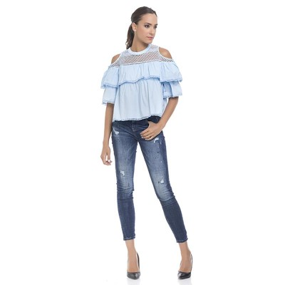 Off the Shoulder top with Vainica details and Flounces Blue
