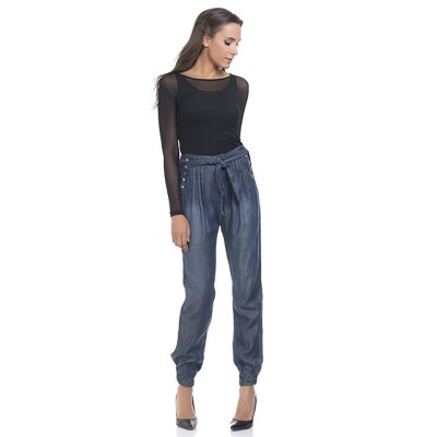 Ankle elastic pants with side buttons and belt Denim